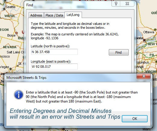 GPS Coordinates with Google Earth and Streets and Trips