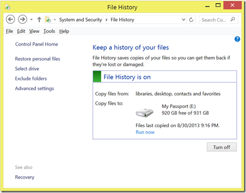 Windows 8 Backup with File History